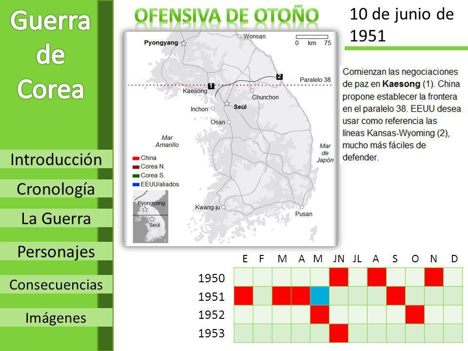Introducción Cronología La Guerra Personajes Consecuencias Imágenes 1950 1951 1952 1953 E F M A M JN JL A S O N D 10 de junio de 1951