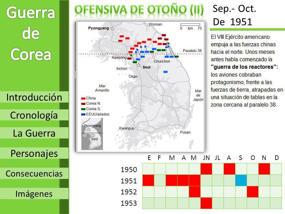 Introducción Cronología La Guerra Personajes Consecuencias Imágenes 1950 1951 1952 1953 E F M A M JN JL A S O N D Sep.- Oct. De 1951