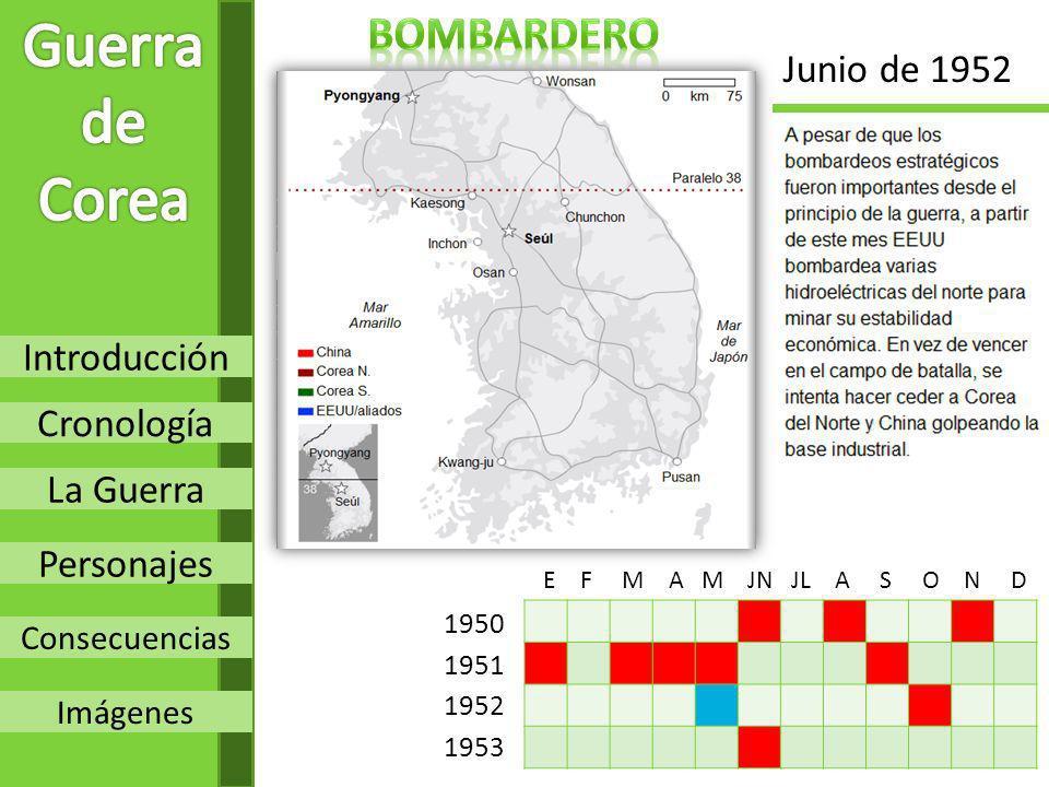Introducción Cronología La Guerra Personajes Consecuencias Imágenes 1950 1951 1952 1953 E F M A M JN JL A S O N D Junio de 1952