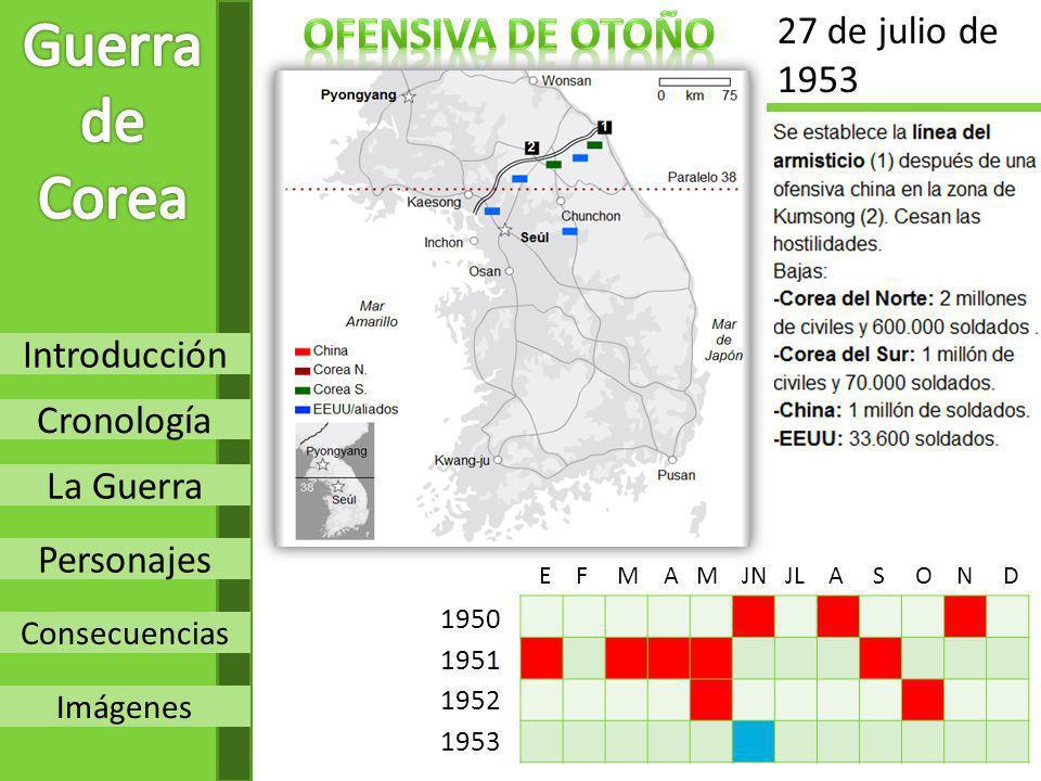 Introducción Cronología La Guerra Personajes Consecuencias Imágenes 1950 1951 1952 1953 E F M A M JN JL A S O N D 27 de julio de 1953