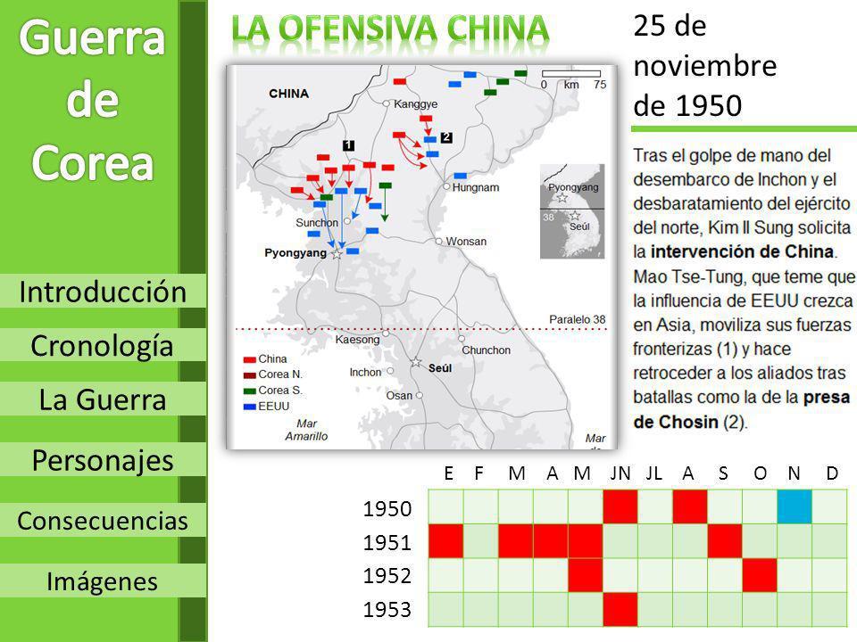 Introducción Cronología La Guerra Personajes Consecuencias Imágenes 1950 1951 1952 1953 25 de noviembre de 1950 E F M A M JN JL A S O N D