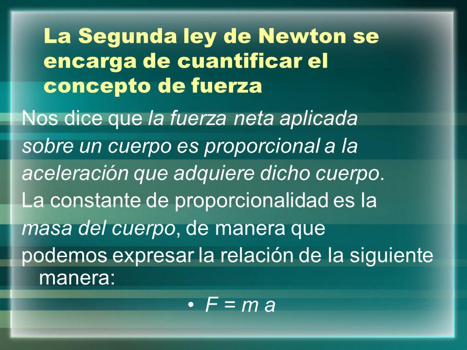 La Segunda ley de Newton se encarga de cuantificar el concepto de fuerza Nos dice que la fuerza neta aplicada sobre un cuerpo es proporcional a la ace