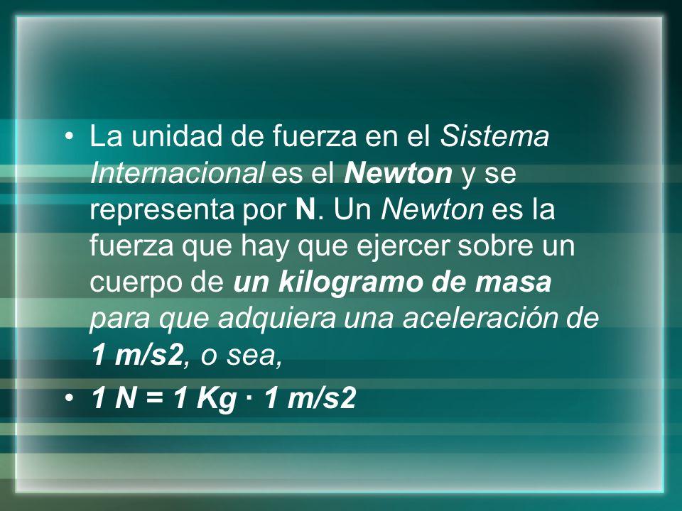 La unidad de fuerza en el Sistema Internacional es el Newton y se representa por N. Un Newton es la fuerza que hay que ejercer sobre un cuerpo de un k