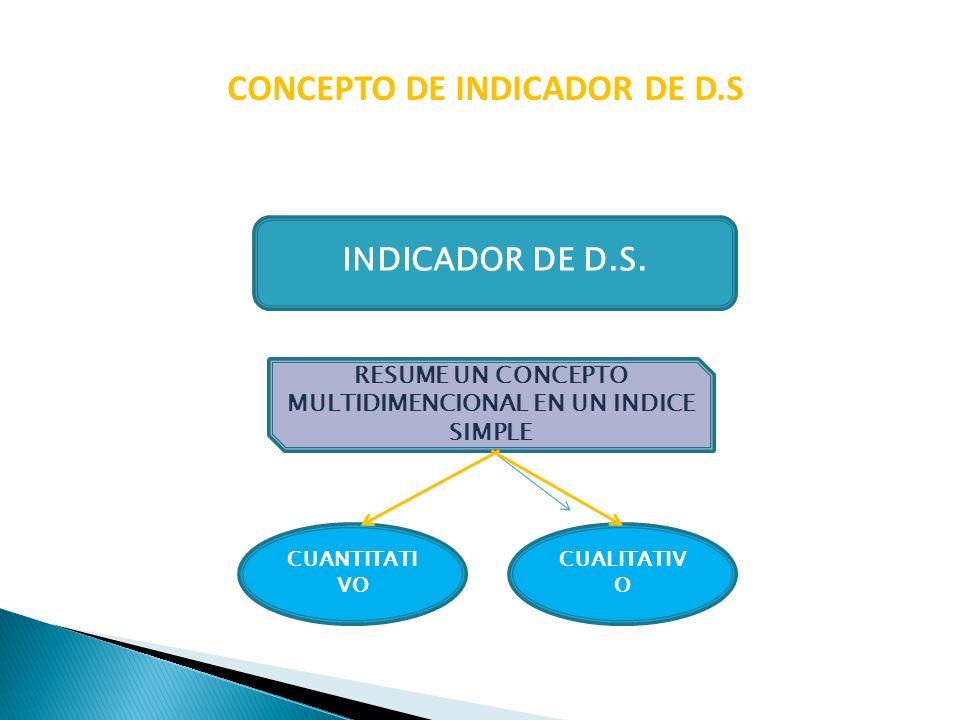 CONCEPTO DE INDICADOR DE D.S INDICADOR DE D.S. RESUME UN CONCEPTO MULTIDIMENCIONAL EN UN INDICE SIMPLE CUALITATIV O CUANTITATI VO