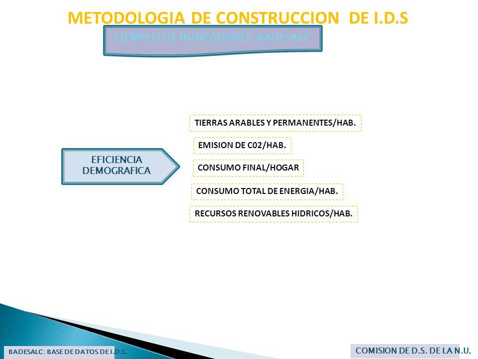 METODOLOGIA DE CONSTRUCCION DE I.D.S EJEMPLO DE INDICADORES: BADESALC BADESALC: BASE DE DATOS DE I.D.S. COMISION DE D.S. DE LA N.U. TIERRAS ARABLES Y
