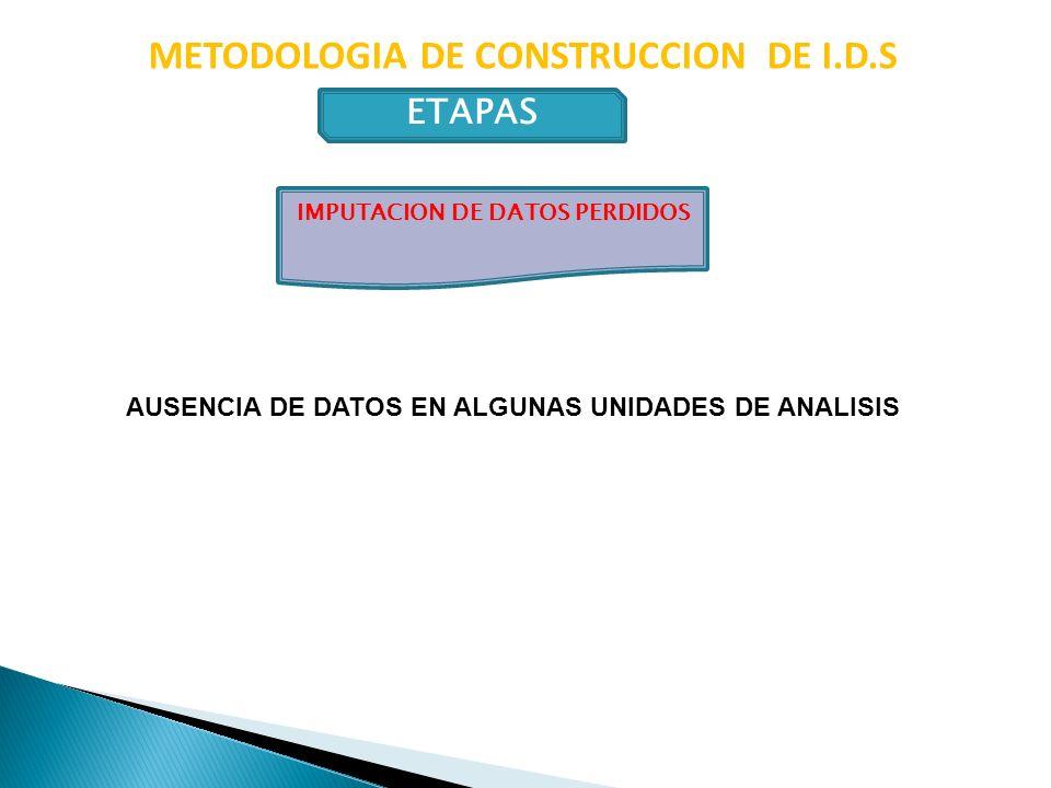 METODOLOGIA DE CONSTRUCCION DE I.D.S ETAPAS IMPUTACION DE DATOS PERDIDOS AUSENCIA DE DATOS EN ALGUNAS UNIDADES DE ANALISIS