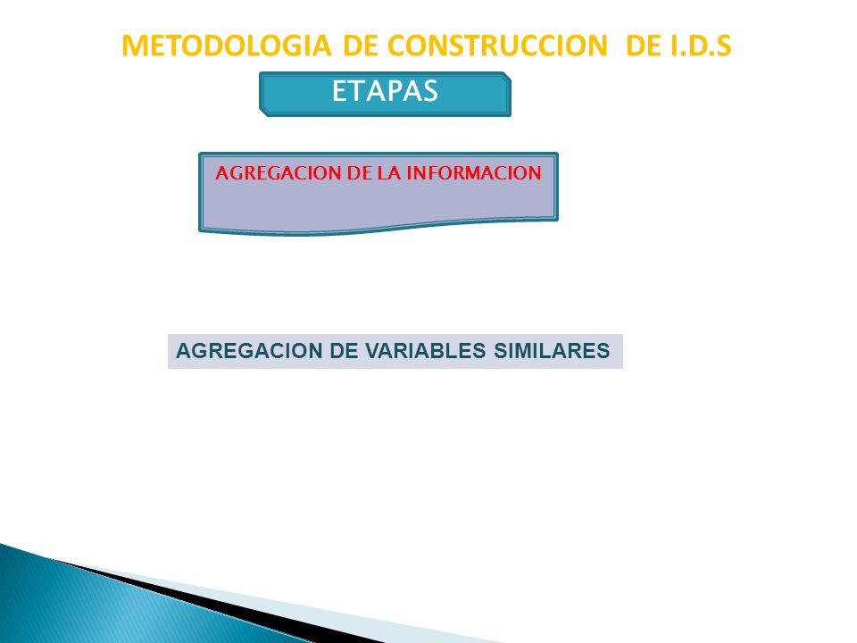 METODOLOGIA DE CONSTRUCCION DE I.D.S ETAPAS AGREGACION DE VARIABLES SIMILARES AGREGACION DE LA INFORMACION