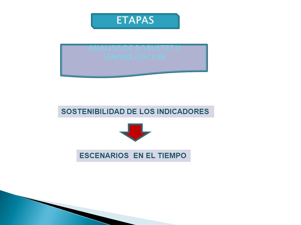 ETAPAS ESCENARIOS EN EL TIEMPO SOSTENIBILIDAD DE LOS INDICADORES ANALISIS DE ROBUSTEZ Y SENSIBILIZACION