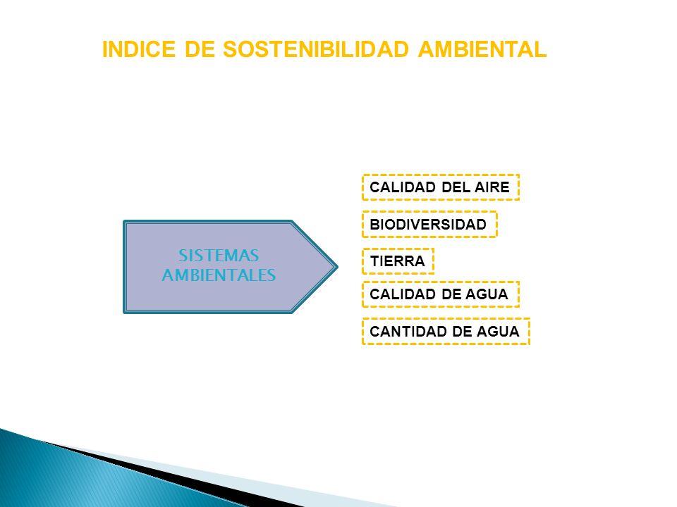 INDICE DE SOSTENIBILIDAD AMBIENTAL SISTEMAS AMBIENTALES BIODIVERSIDAD TIERRA CALIDAD DE AGUA CALIDAD DEL AIRE CANTIDAD DE AGUA