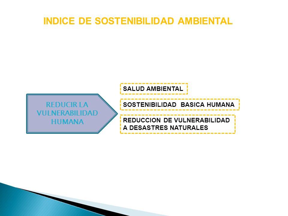 INDICE DE SOSTENIBILIDAD AMBIENTAL REDUCIR LA VULNERABILIDAD HUMANA SOSTENIBILIDAD BASICA HUMANA REDUCCION DE VULNERABILIDAD A DESASTRES NATURALES SAL
