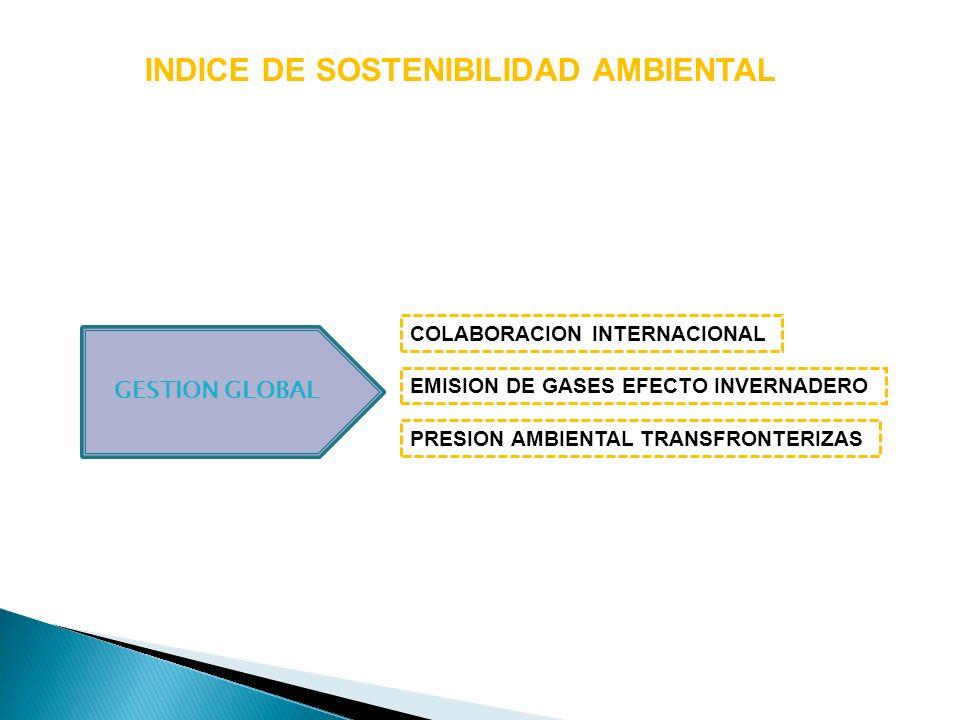 INDICE DE SOSTENIBILIDAD AMBIENTAL GESTION GLOBAL EMISION DE GASES EFECTO INVERNADERO COLABORACION INTERNACIONAL PRESION AMBIENTAL TRANSFRONTERIZAS
