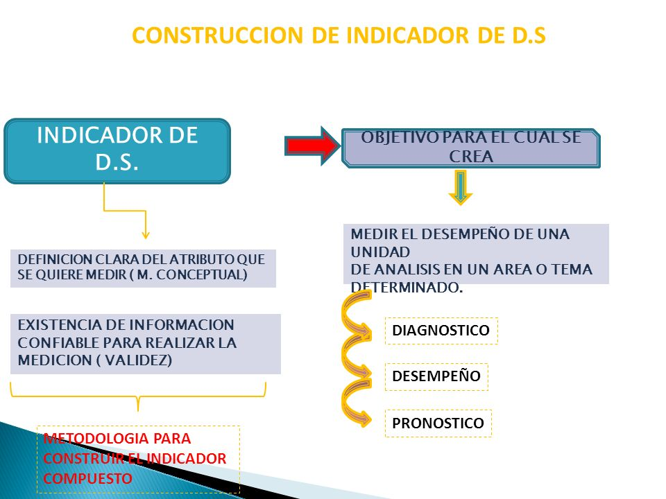 CONSTRUCCION DE INDICADOR DE D.S INDICADOR DE D.S. OBJETIVO PARA EL CUAL SE CREA EXISTENCIA DE INFORMACION CONFIABLE PARA REALIZAR LA MEDICION ( VALID
