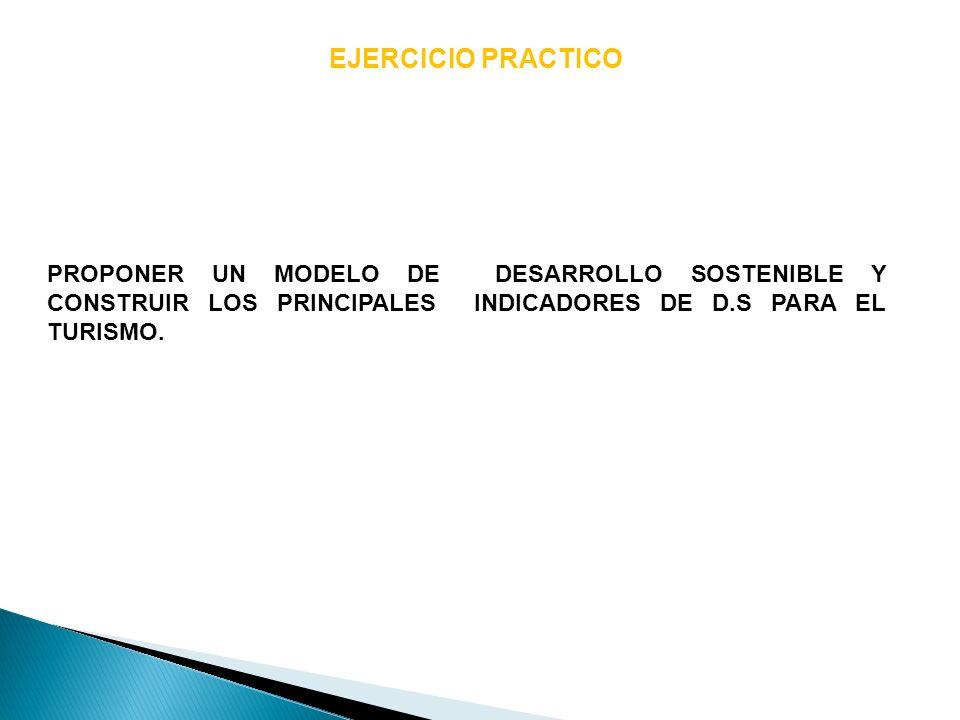 EJERCICIO PRACTICO PROPONER UN MODELO DE DESARROLLO SOSTENIBLE Y CONSTRUIR LOS PRINCIPALES INDICADORES DE D.S PARA EL TURISMO.