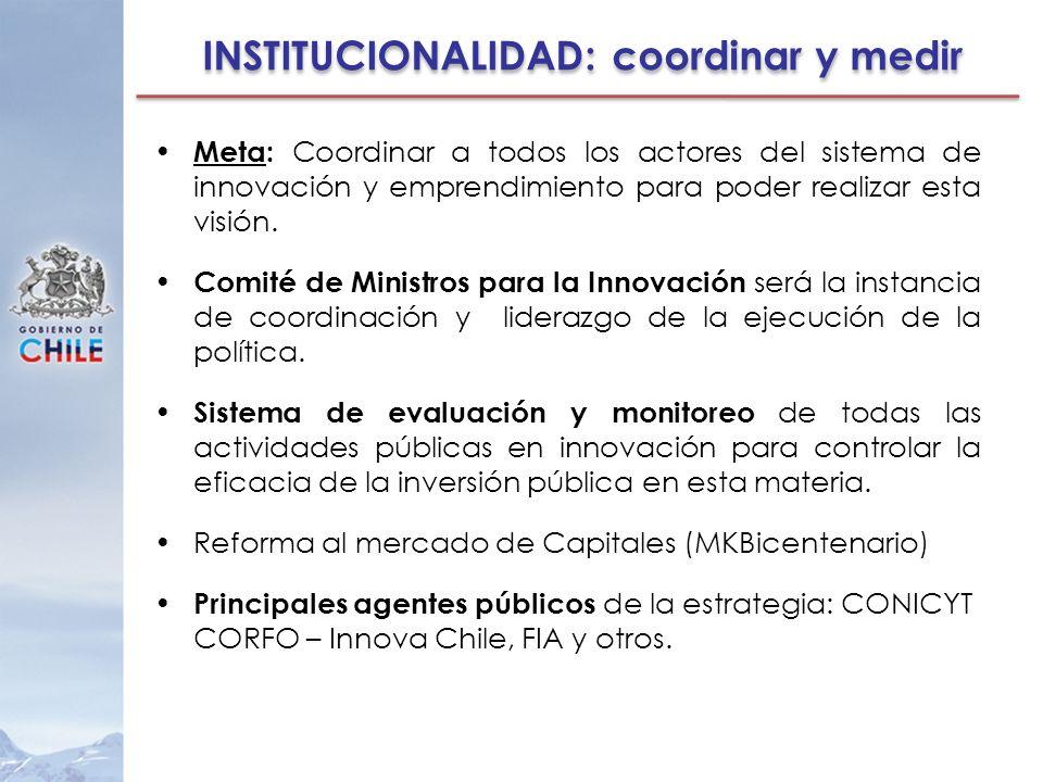 INSTITUCIONALIDAD: coordinar y medir Meta: Coordinar a todos los actores del sistema de innovación y emprendimiento para poder realizar esta visión. C