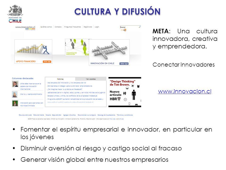CULTURA Y DIFUSIÓN META : Una cultura innovadora, creativa y emprendedora. Fomentar el espíritu empresarial e innovador, en particular en los jóvenes