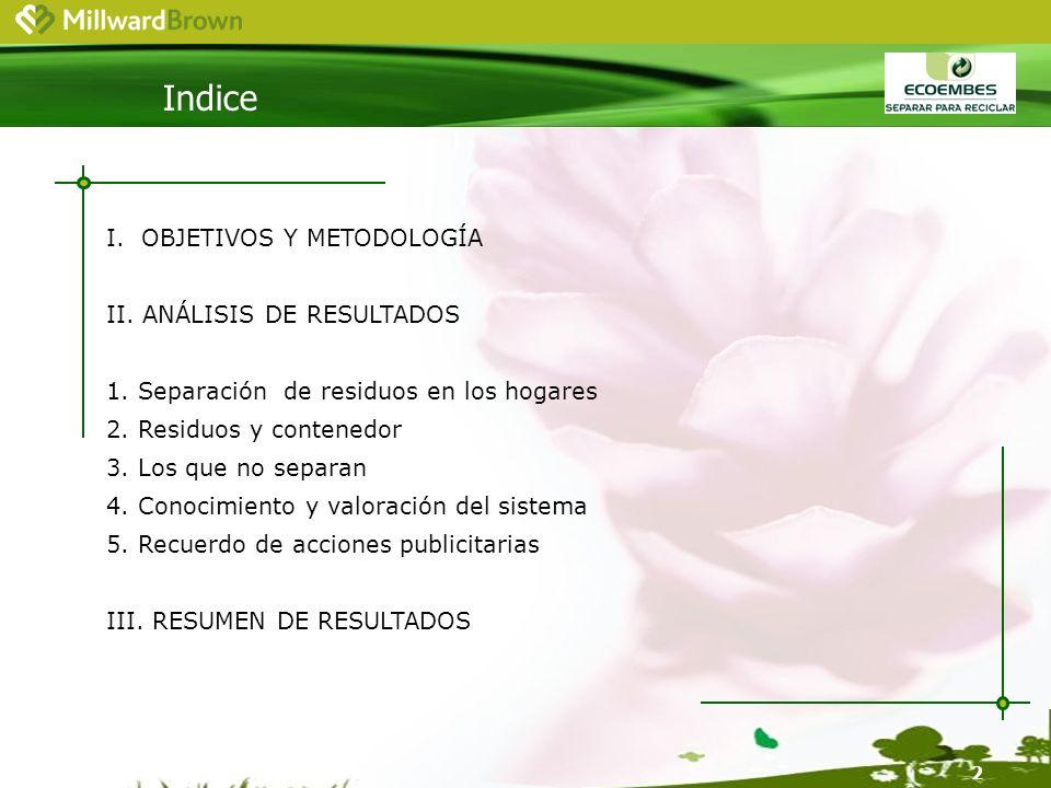 2 Indice I. OBJETIVOS Y METODOLOGÍA II. ANÁLISIS DE RESULTADOS 1.