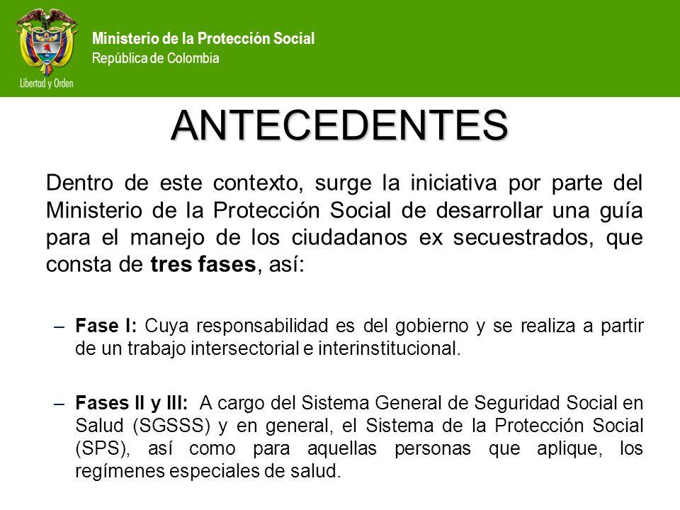 Ministerio de la Protección Social República de Colombia ASPECTOS CLAVE: El primer contacto entre los liberados y su familia debe ocurrir sólo después de que el coordinador del equipo haya confirmado que la familia está preparada para el encuentro inicial.