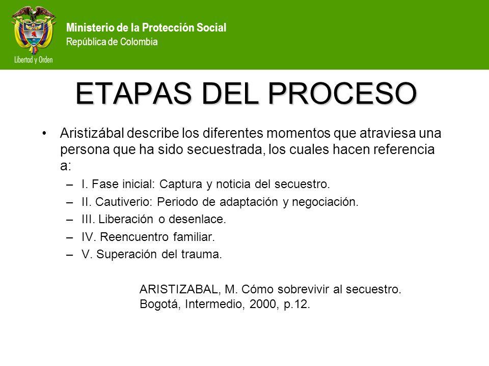 Ministerio de la Protección Social República de Colombia OBJETIVO DE LA GUÍA Las siguientes recomendaciones están dirigidas al Equipo interdisciplinario de salud que atiende al liberado en las etapas III, IV y V, que hacen referencia a: –III.