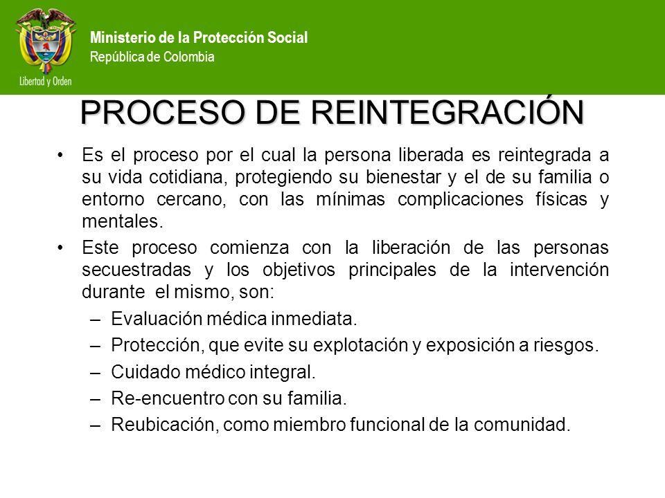 Ministerio de la Protección Social República de Colombia PROCESO DE REINTEGRACIÓN El eje de la reintegración está definido por los primeros auxilios mentales, el diagnóstico, el tratamiento y la reintegración propiamente dicha; e incluye además, elementos logísticos, administrativos, legales, financieros y de seguridad.