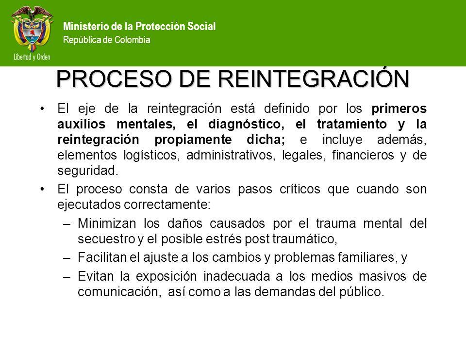 Ministerio de la Protección Social República de Colombia OBJETIVO GENERAL: Garantizar un proceso adecuado de recuperación física y mental y de reinserción familiar y social.