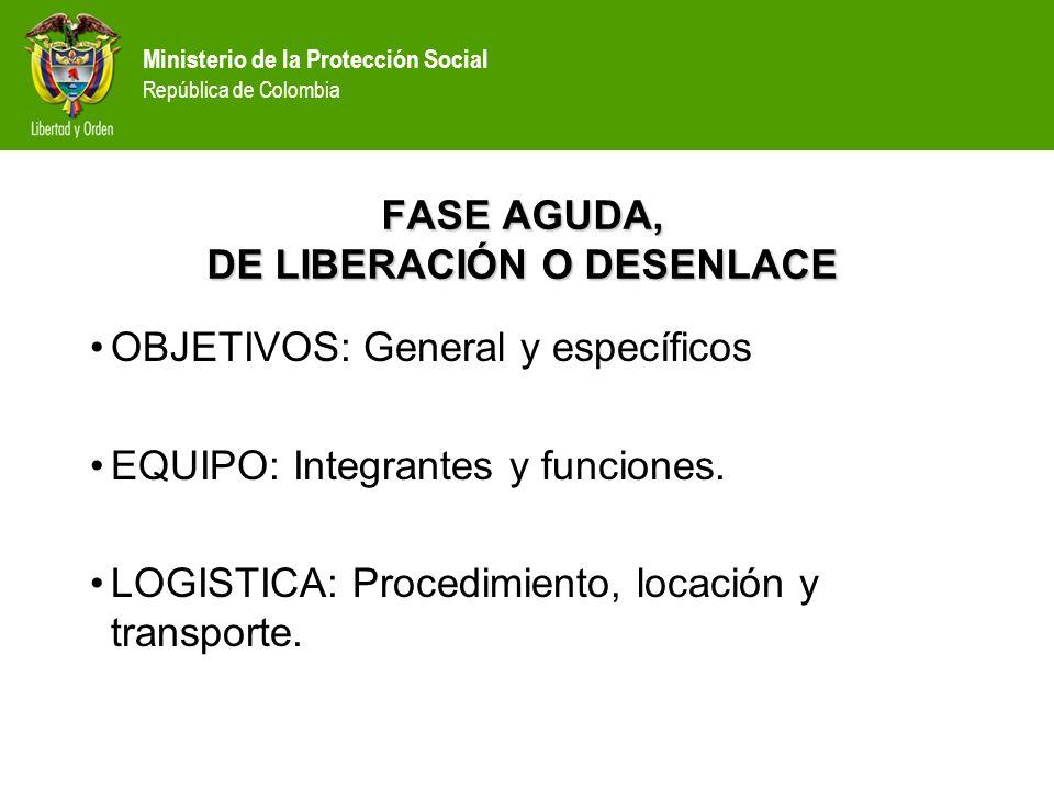 Ministerio de la Protección Social República de Colombia OBJETIVOS ESPECÍFICOS: Evaluación integral.