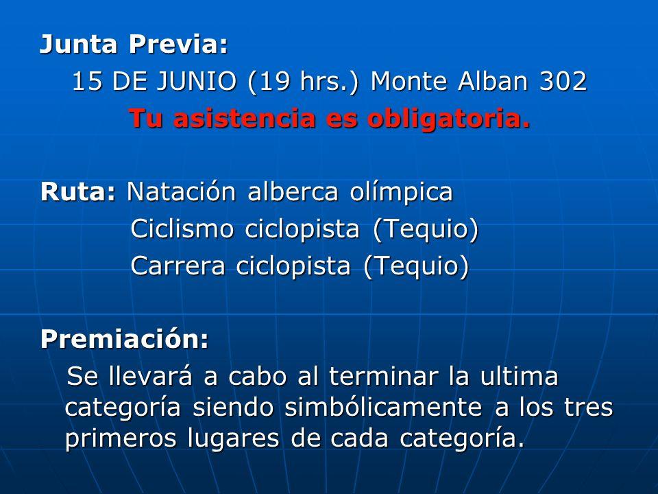Junta Previa: 15 DE JUNIO (19 hrs.) Monte Alban 302 Tu asistencia es obligatoria.