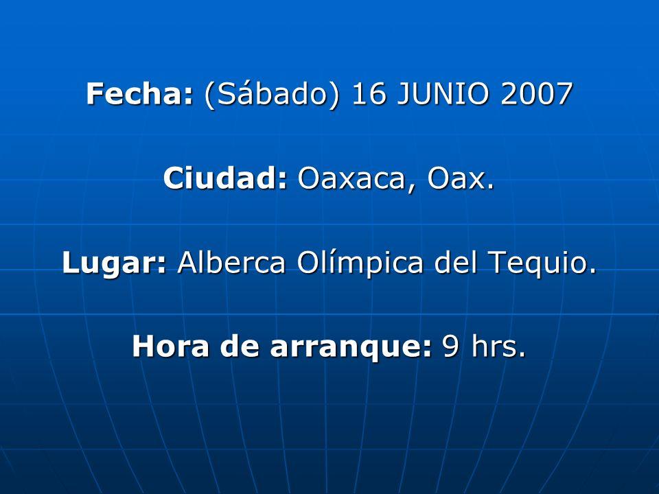 Fecha: (Sábado) 16 JUNIO 2007 Ciudad: Oaxaca, Oax.