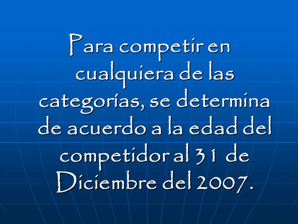 Para competir en cualquiera de las categorías, se determina de acuerdo a la edad del competidor al 31 de Diciembre del 2007.