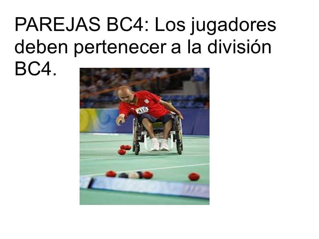 PAREJAS BC4: Los jugadores deben pertenecer a la división BC4.