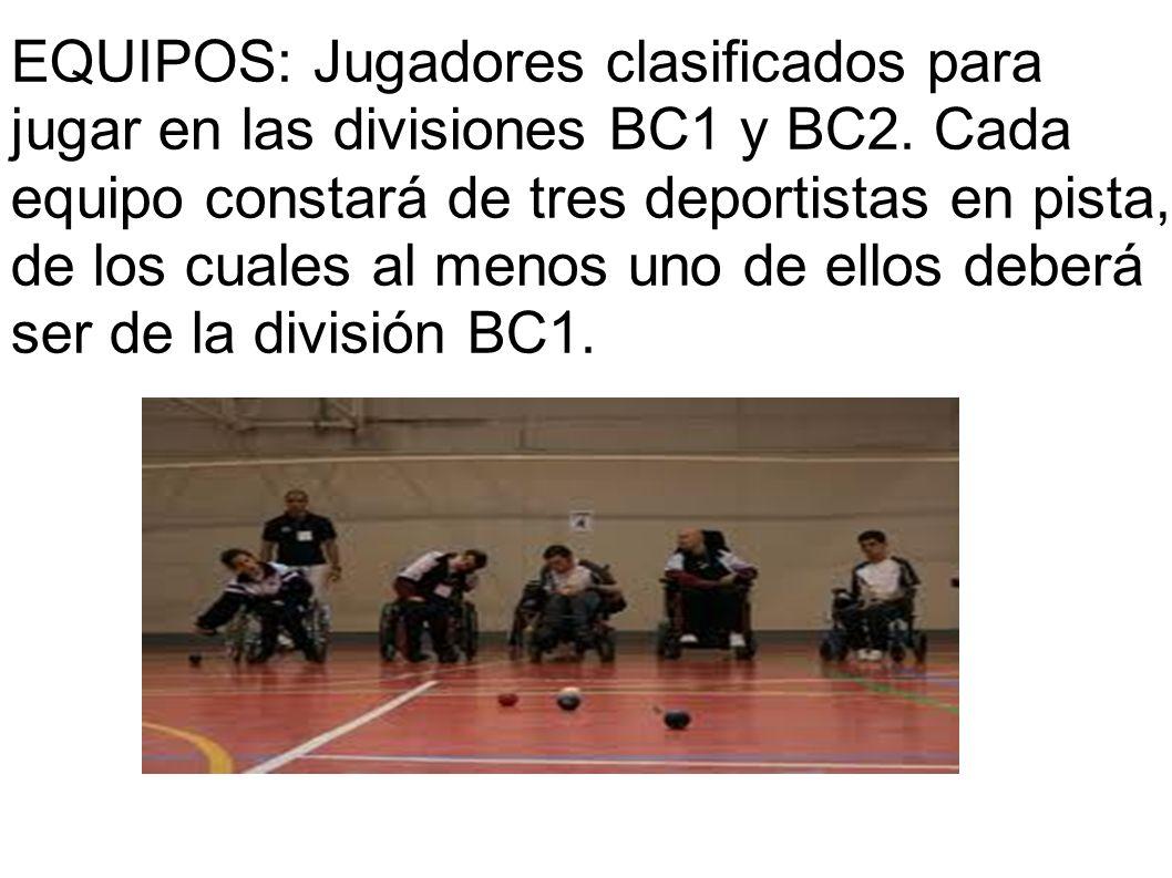 EQUIPOS: Jugadores clasificados para jugar en las divisiones BC1 y BC2. Cada equipo constará de tres deportistas en pista, de los cuales al menos uno