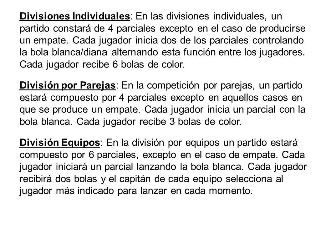 Divisiones Individuales: En las divisiones individuales, un partido constará de 4 parciales excepto en el caso de producirse un empate. Cada jugador i