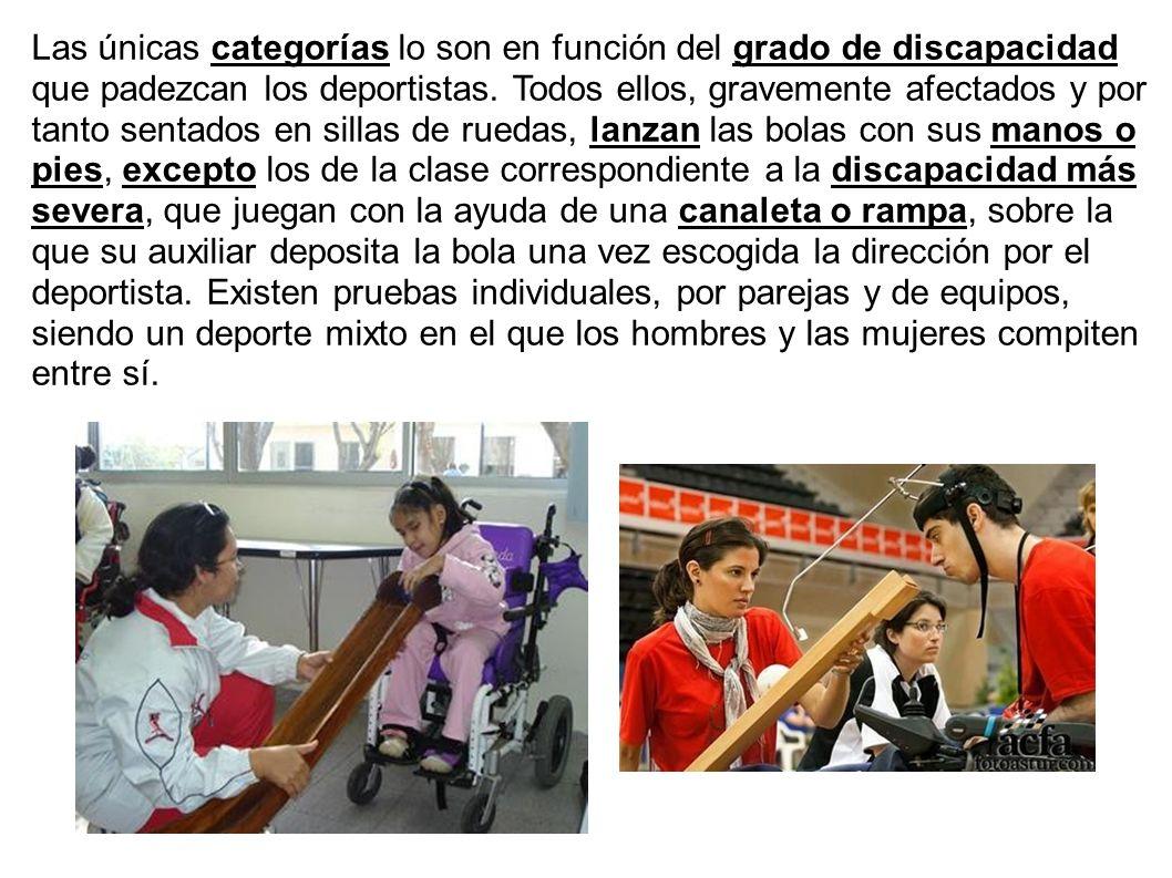 Las únicas categorías lo son en función del grado de discapacidad que padezcan los deportistas. Todos ellos, gravemente afectados y por tanto sentados