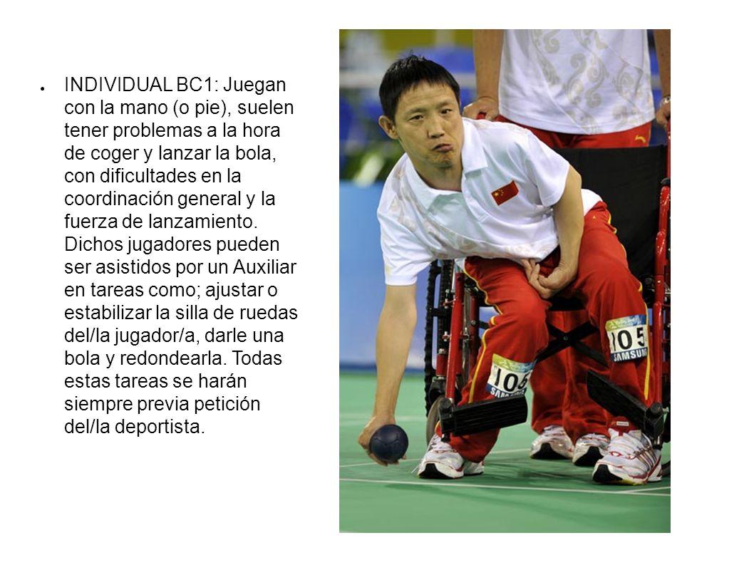 INDIVIDUAL BC1: Juegan con la mano (o pie), suelen tener problemas a la hora de coger y lanzar la bola, con dificultades en la coordinación general y