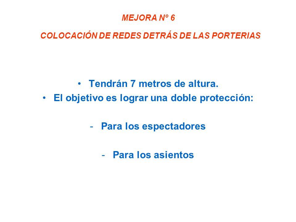 MEJORA Nº 6 COLOCACIÓN DE REDES DETRÁS DE LAS PORTERIAS Tendrán 7 metros de altura.