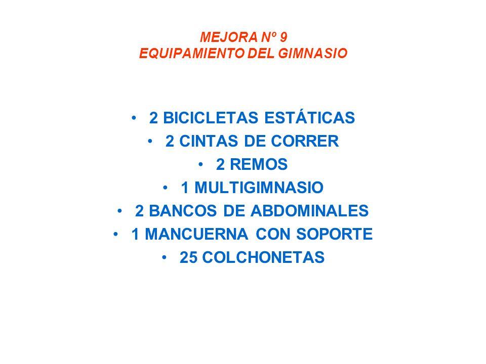 MEJORA Nº 9 EQUIPAMIENTO DEL GIMNASIO 2 BICICLETAS ESTÁTICAS 2 CINTAS DE CORRER 2 REMOS 1 MULTIGIMNASIO 2 BANCOS DE ABDOMINALES 1 MANCUERNA CON SOPORTE 25 COLCHONETAS