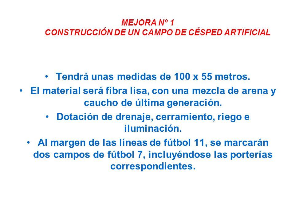 MEJORA Nº 1 CONSTRUCCIÓN DE UN CAMPO DE CÉSPED ARTIFICIAL Tendrá unas medidas de 100 x 55 metros.