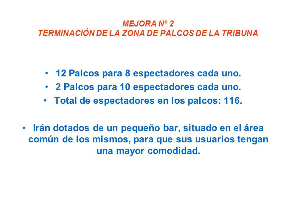 MEJORA Nº 2 TERMINACIÓN DE LA ZONA DE PALCOS DE LA TRIBUNA 12 Palcos para 8 espectadores cada uno.