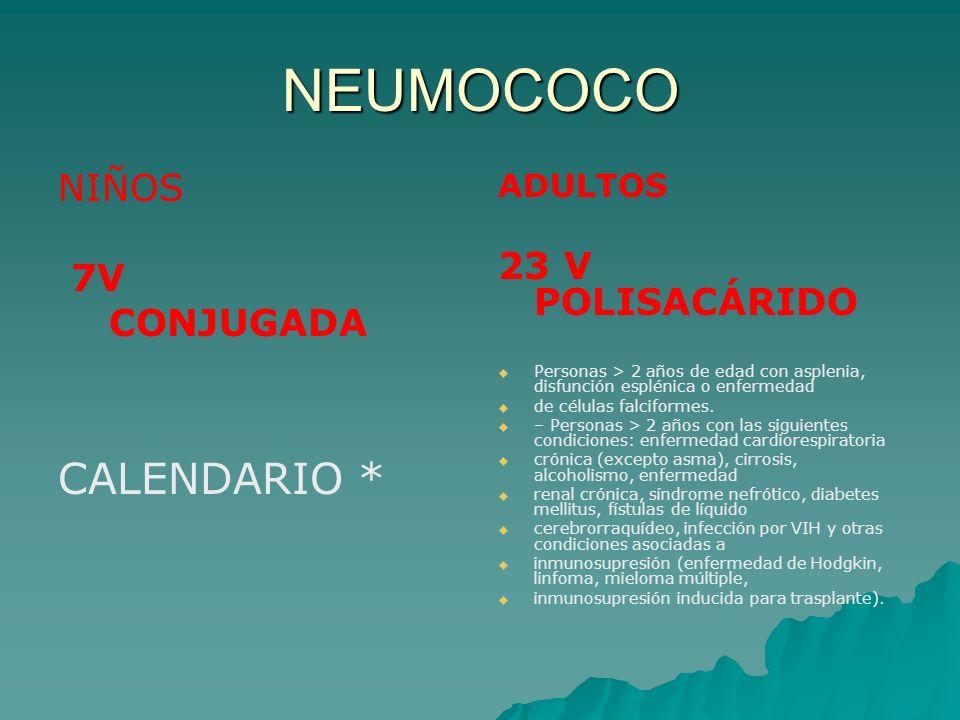 NEUMOCOCO NIÑOS 7V CONJUGADA CALENDARIO * ADULTOS 23 V POLISACÁRIDO Personas > 2 años de edad con asplenia, disfunción esplénica o enfermedad de célul