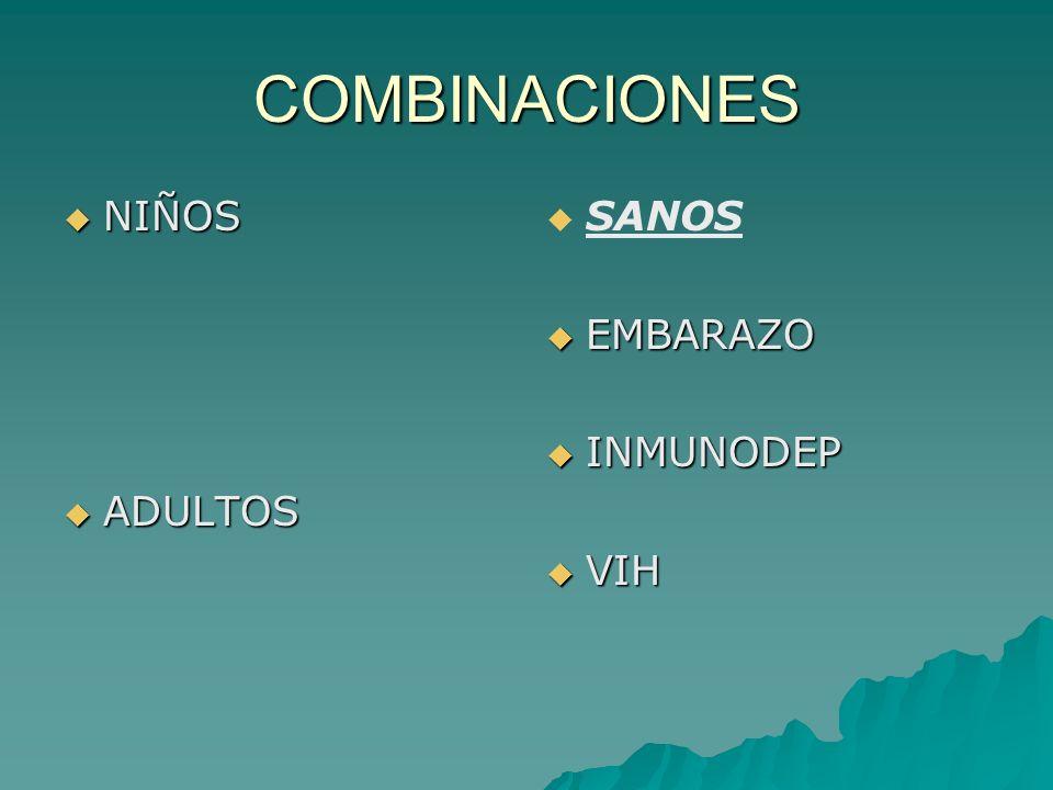 COMBINACIONES NIÑOS NIÑOS ADULTOS ADULTOS SANOS EMBARAZO EMBARAZO INMUNODEP INMUNODEP VIH VIH