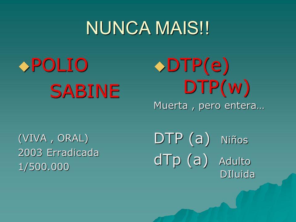 NUNCA MAIS!! POLIO POLIO SABINE SABINE (VIVA, ORAL) 2003 Erradicada 1/500.000 DTP(e) DTP(w) DTP(e) DTP(w) Muerta, pero entera… DTP (a) Niños dTp (a) A