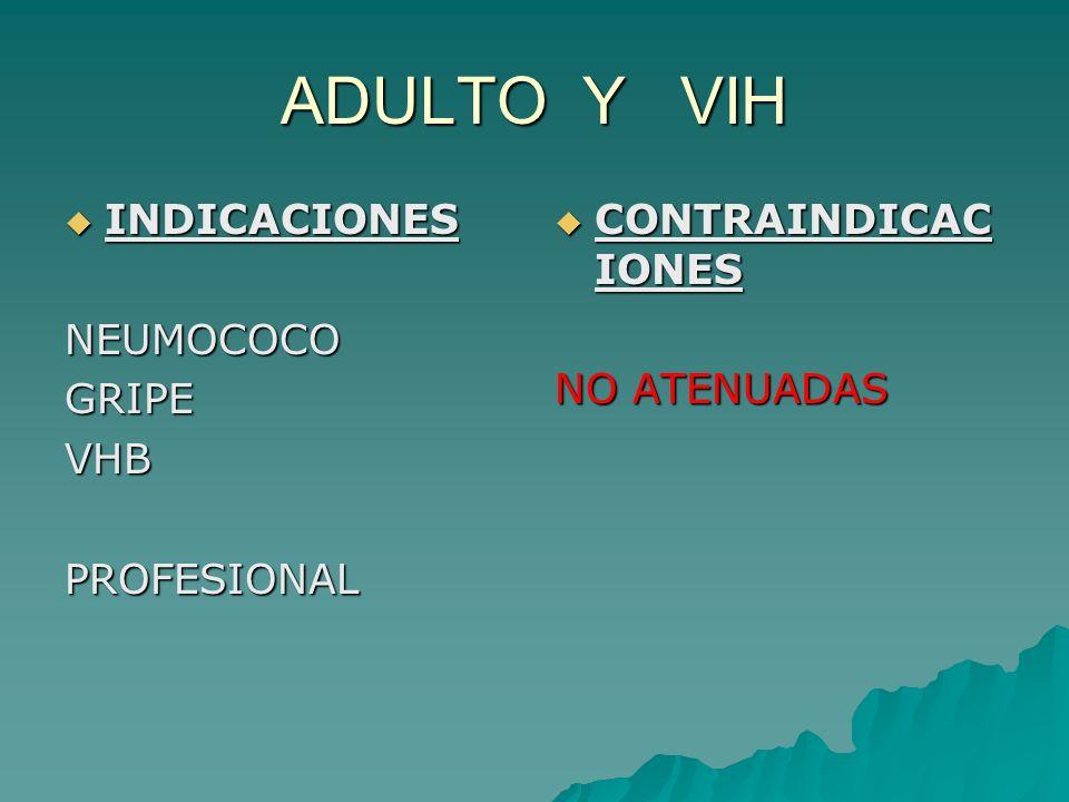 ADULTO Y VIH INDICACIONES INDICACIONESNEUMOCOCOGRIPEVHBPROFESIONAL CONTRAINDICAC IONES CONTRAINDICAC IONES NO ATENUADAS