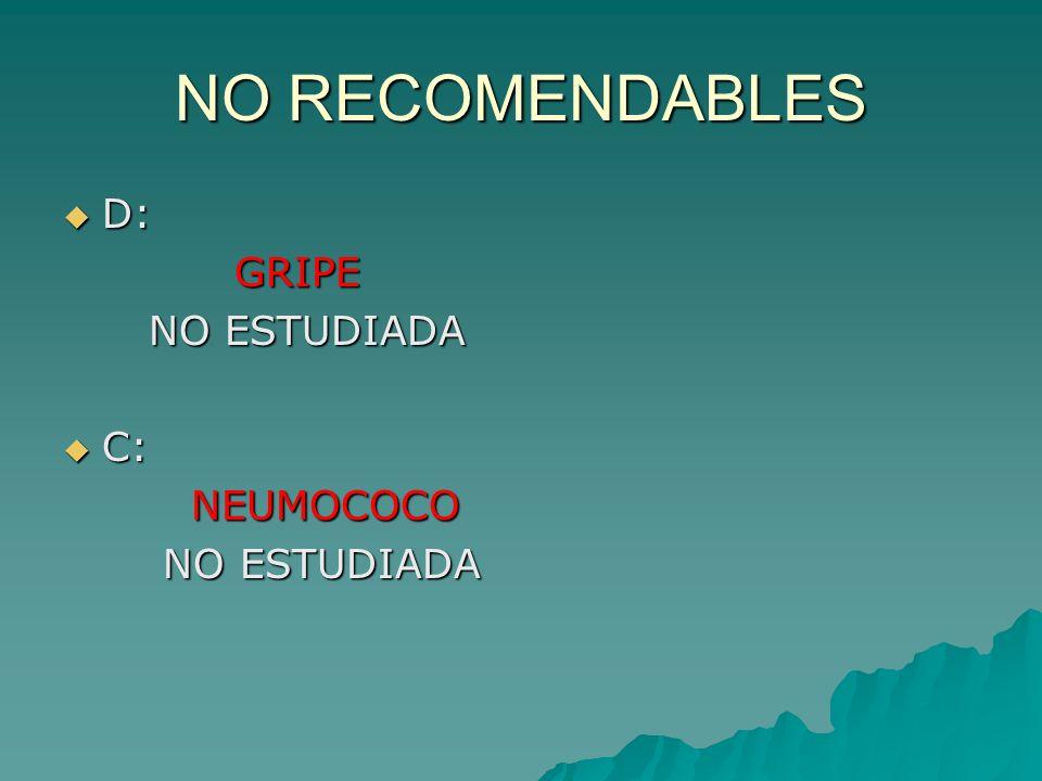 NO RECOMENDABLES D: D: GRIPE GRIPE NO ESTUDIADA NO ESTUDIADA C: C: NEUMOCOCO NEUMOCOCO NO ESTUDIADA NO ESTUDIADA
