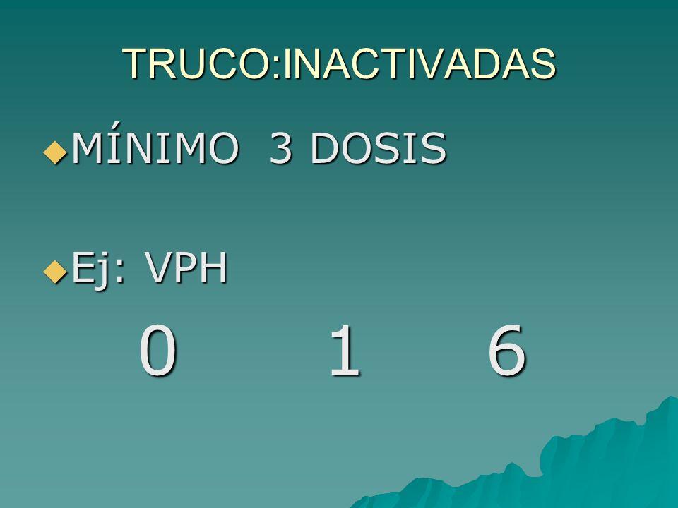 TRUCO:ATENUADAS 1 ó 2 DOSIS 1 ó 2 DOSIS Ej: 3V 15 m 4 a 15 m 4 a
