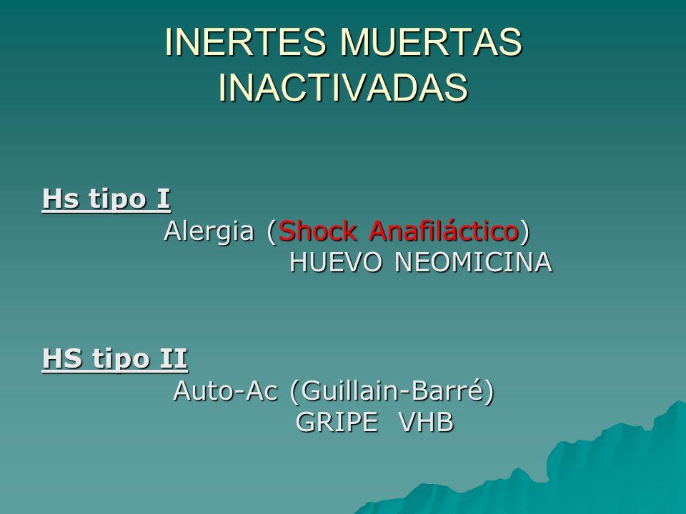 INERTES MUERTAS INACTIVADAS Hs tipo I Alergia (Shock Anafiláctico) Alergia (Shock Anafiláctico) HUEVO NEOMICINA HUEVO NEOMICINA HS tipo II Auto-Ac (Gu