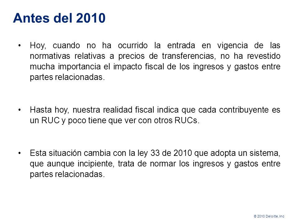 © 2010 Deloitte, Inc La elección del método en la determinación del precio de transferencia entre partes relacionadas Carlos Urbina Lic. Derecho (U. d