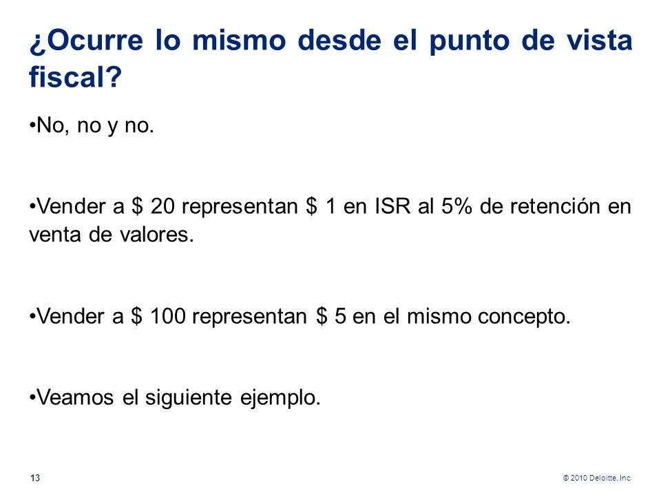 © 2010 Deloitte, Inc Pase $ 20 de un bolsillo a otro de su pantalón. Luego pase $ 100. ¿Es usted más rico o más pobre en el primer caso? ¿Es usted más