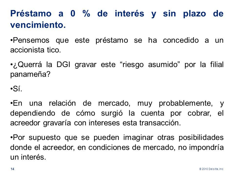 © 2010 Deloitte, Inc ¿Ocurre lo mismo desde el punto de vista fiscal? No, no y no. Vender a $ 20 representan $ 1 en ISR al 5% de retención en venta de