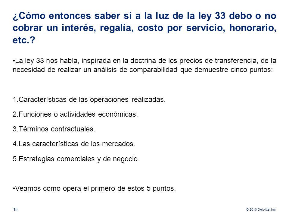 © 2010 Deloitte, Inc Préstamo a 0 % de interés y sin plazo de vencimiento. Pensemos que este préstamo se ha concedido a un accionista tico. ¿Querrá la