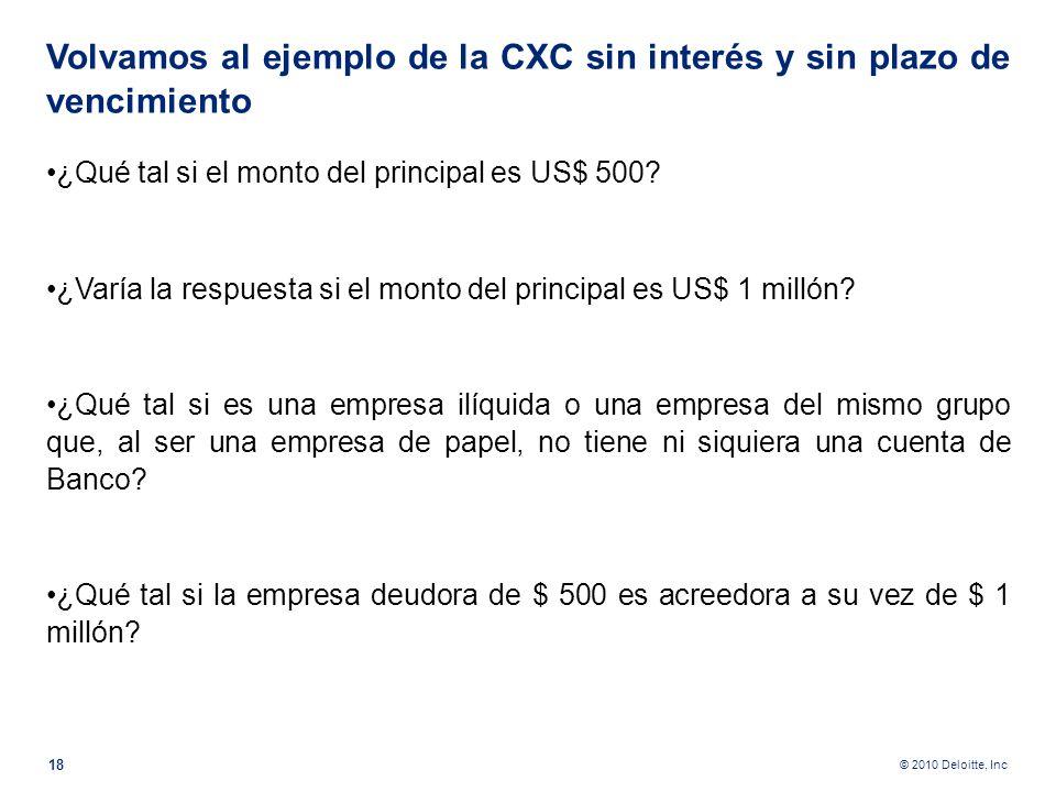 © 2010 Deloitte, Inc A Monto del principal, plazo, calificación de riesgo, garantía, solvencia del deudor y tasa de interés. 17