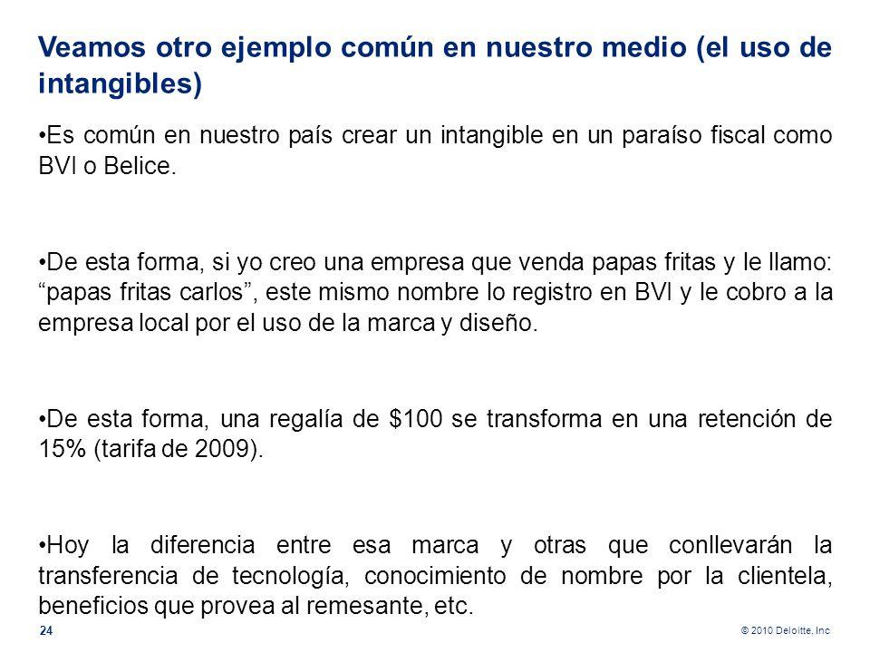 © 2010 Deloitte, Inc D En el caso de bienes intangibles se habla de la clase del bien, patente, marca, nombre comercial, transferencia de tecnología,